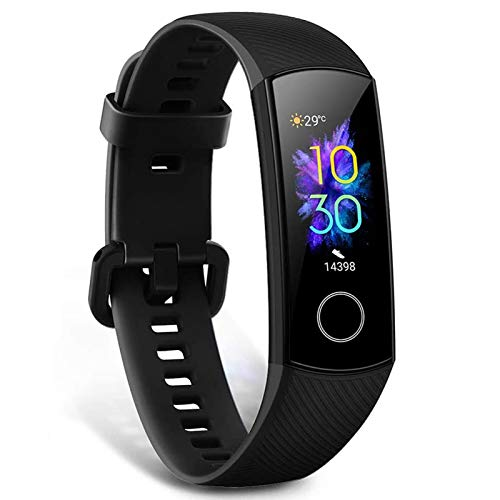 HONOR Band 5 Fitness Armbanduhr Intelligente, Fitness Uhr Blutdruck Pulsuhren Fitness Tracker IP68 Pulsuhr Schrittzähler Uhr Damen Herren Bluetooth Anruf Nachrichten, Schwarz