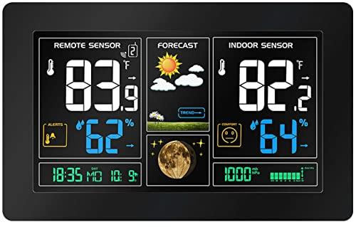 Funkwetterstation   Farbdisplay   2 Alarme   Wettervohersage mit Kalender   Anzeige der Innen- und Außentemperatur   Luftfeuchtigkeit   Hygrometer   Digitales Thermometer   Wetterstation   Wecker  