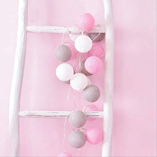 No brand Cotton Ball licht slinger ballen LED lichtketting lichten Outdoor slinger voor decoratie 3 Mt droogbatterij roze wit grijs