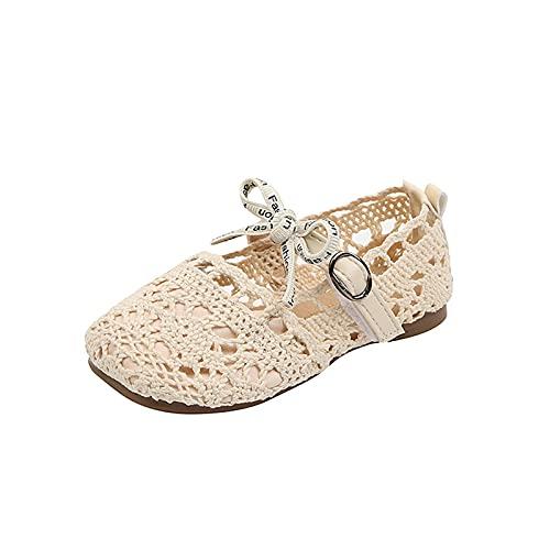 YWLINK Verano Para NiñAs Sandalias De Princesa Huecas De Punto Moda Zapatos De Playa Zapatos Planos Para NiñOs Zapatos Individuales Zapatos De Princesa Suela Suave Zapatos Casuales Zapatos De