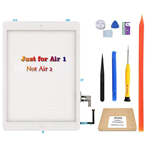 JPUNG for iPad Air 1st Generation Digitizer Screen Replacement (White), for A1474 A1475 A1476 Touch Screen, with Home Button, Complete Repair Tools Kit, Camera Holder, Pre-Installed Adhesive Stickers