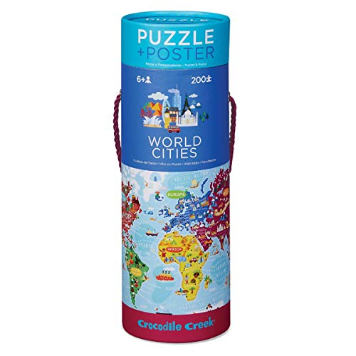 Bertoy- World Cities Piece Puzzle Plus Poster Rompecabezas de Suelo, Color Azul/Verde/Naranja/Rojo/Rosa, 19' x 13' (2874-3)