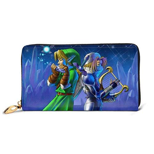 Cuero embrague leyenda Zelda cartera cremallera mujeres moda pulsera monederos teléfono crédito multi tarjeta titular organizador carteras