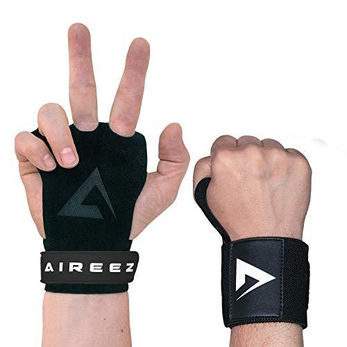 Aireez® 2 in 1 Crossfit Handschuhe MB Pull up Grips Für Handschutz & Handgelenk Bandagen Set, Hand Grips, Calisthenics Handschuhe, Turnen Riemchen (Damen & Herren) für Freeletics, Gymsnatik & Wodies