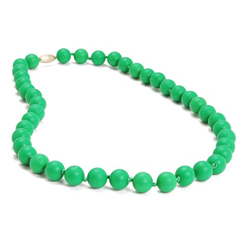 Chewbeads Jane Teething Necklace (Green) - Original Fashionable Infant Teething Jewelry for Mom. 100% Medical Grade Silicone Safe for Teething Babies and Toddlers. BPA-Free