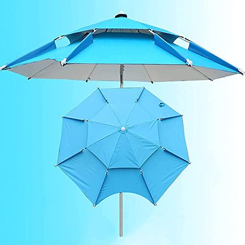 Sombrillas de playa azules para arena resistente al viento con sombrilla de anclaje al aire libre con ventilación Paraguas de mercado 5.9Ft / 6.5Ft / 7.2Ft / 7.8Ft / 8.5Ft para pesca, balcón, campin
