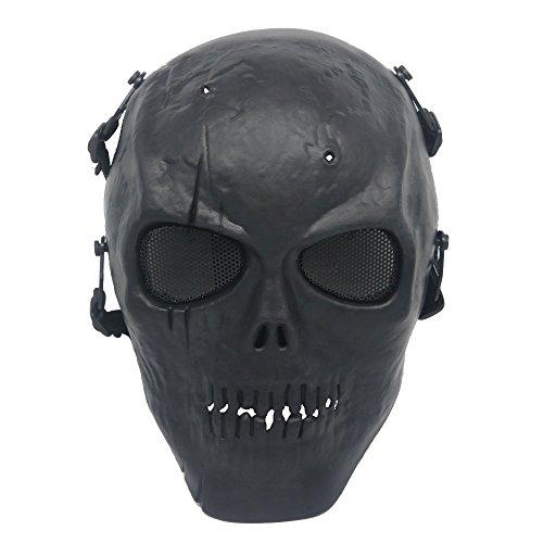 Ecloud Shop Schädelmaske Cosplay Maske Skelett Gesichtsmaske Schild für Cosplay Game Party - Schwarz