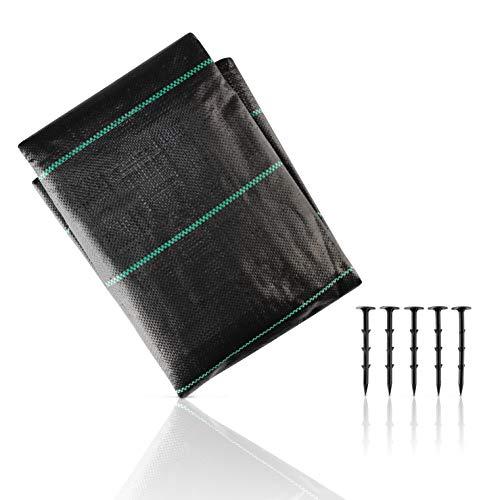 CoverUp! Unkrautgewebe [2mx5m=10m²] - Gartenvlies wasserdurchlässig & atmungsaktiv [100 g/m²] - Unkrautgewebe - Reißfeste und widerstandsfähige Unkrautfolie inkl. 5 Erdanker