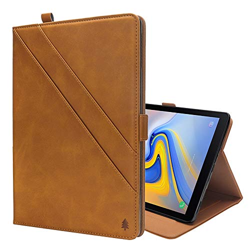 XINGCHEN Tablet PC Shell Horizontal Flip Double Holder Leather Case for Galaxy Tab A 10.5 T590 / T595, with Card Slots & Photo Frame & Pen Slot(Black) Case Cover (Color : LightBrown)