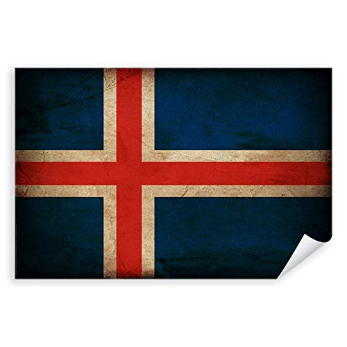 Postereck - 0324 - Vintage Flagge, Fahne Island Reykjavík - Unterricht Klassenzimmer Schule Wandposter Fotoposter Bilder Wandbild Wandbilder - Leinwand - 100,0 cm x 75,0 cm