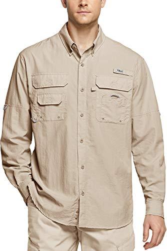 TSLA Men's Performance Fishing Shirt, UPF 50+ Breathable Button Down Shirts, Outdoor Recreation Long Sleeve Shirt