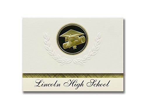 Signature Announcements Lincoln High School (Lincoln, MO) Abschluss-Ankündigung, Vorstehenstil, Basispaket mit 25 Kappen und Diplom-Siegel.