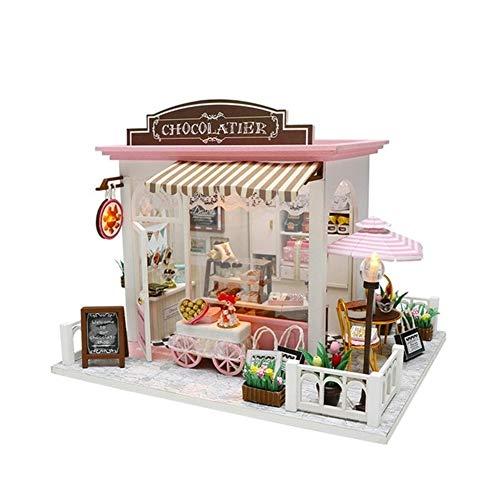 CHEJHUA -DIY casa de muñeca de Madera de Las Casas de muñeca de Muebles Building Blocks Miniatura Dollhouse Modelo en Miniatura de Madera de la muñeca DIY (Color : Doll House 4)