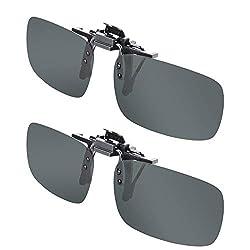 powerful Splaks Unisex Polarized Frameless Rectangular Lens 2-Black Sunglasses Clip