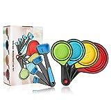 Juego de 8 tazas y cucharas medidoras plegables de silicona, coloridas tazas medidoras (azul)