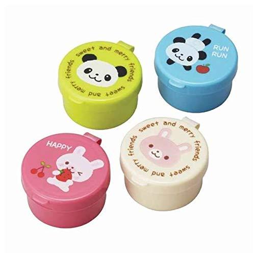4 bunte Behälter für Saucen etc. aus Japan mit Pandabären und Häschen