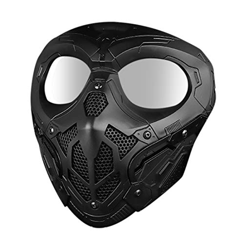 wangxike Taktische Maske, Paintball Masken Full Face Schutzmaske Mit Schutzbrille, Airsoft Gesichtsmaske für Nerf, CS, Nerf Rival, Halloween Party