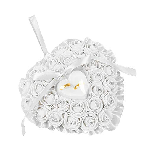 LPxdywlk Herzform Faux Rose Strass Intarsien Ehering Aufbewahrungsbox Halter Kissen Party Requisiten Weiß