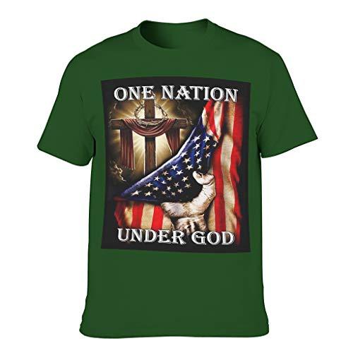 Camiseta de fitness para hombre, diseño vintage de una nación bajo Dios con la bandera de los Estados Unidos Dark Green001. M