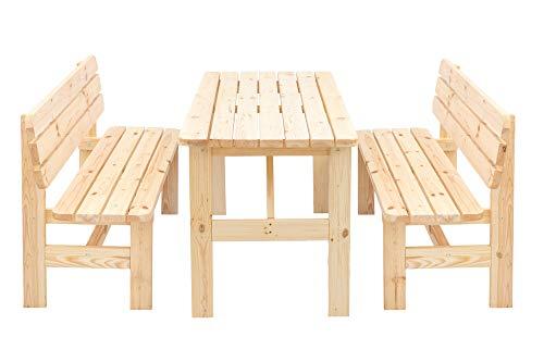 Gartengruppe BERGEN 3-teilig, 2x Bank und 1x Tisch 150cm, Kiefer natur