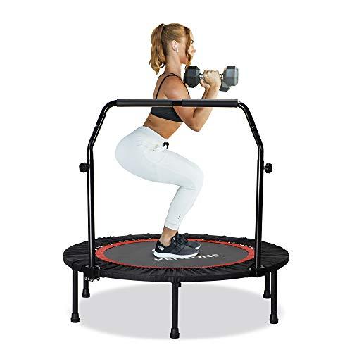 FREEDARE 40' Foldable Mini Trampoline, Indoor Trampoline for Kids, Adults Indoor/Garden Workout, Fitness Rebounder with Adjustable Foam Handle, Max Load 330 lbs