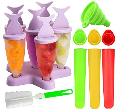 Gyvazla Eisformen, 13 Stück Wiederverwendbar Popsicle Formen Set, 8 Stück Eislutscher Popsicle Formen, 3 Stück Eisform Silikon, Falttrichter, Bürste, für Baby, Kinder, Erwachsene DIY Kreative