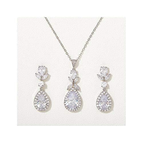 Juego de joyas de novia de lágrima para damas de honor, novias, collar de cristal y pendientes para mujeres, cúbico…