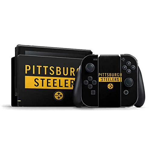 Skinit Decal Gaming Skin Compatible with Nintendo Switch Bundle - Officially Licensed NFL Pittsburgh Steelers Black Performance Series Design