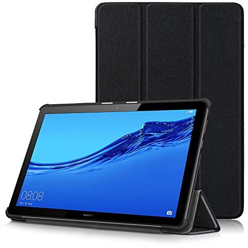 Huawei MediaPad T5 10 Hülle - Ultra Dünn & Leicht PU Leder Schutzhülle mit Standfunktion für Huawei MediaPad T5 WiFi/LTE Tablet-PC (25,6 cm, 10,1 Zoll), Schwarz