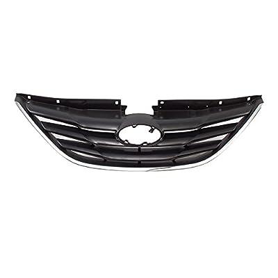CarPartsDepot, Front Grille Matte Black Chrome Molding, 400-222212 HY1200162 863503S000