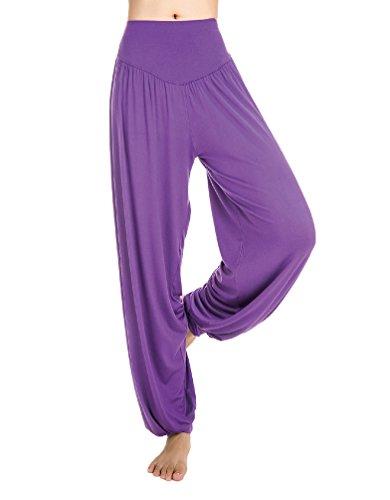 Baymate Damen Pumphose/Haremshose/Yoga Pant Stretch Sport Aladin Hose Bequem Violett L