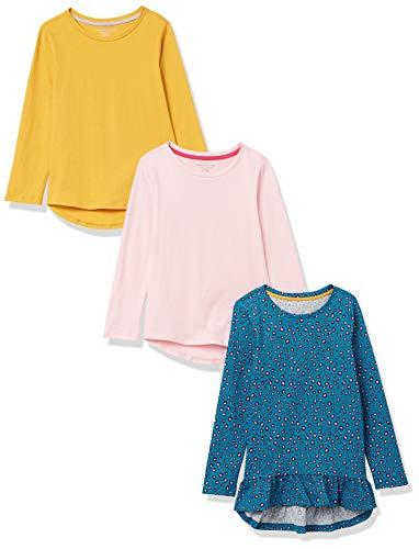 Amazon Essentials Long-Sleeve Cotton Jersey Tunic T-Shirts Fashion, Paquete de 3 Flores pequeñas, S