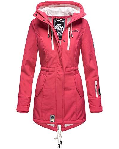 Marikoo Damen Winter Jacke Winterjacke Mantel Outdoor wasserabweisend Softshell B614 [B614-Zimt-Pink-Gr.M]