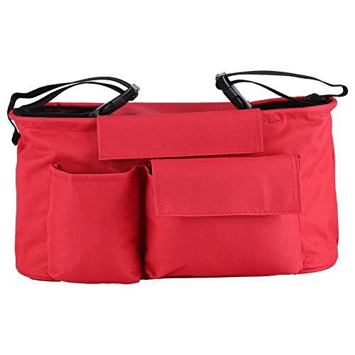 Fdit Bolsa organizadora de almacenamiento para cochecito de bebé, con múltiples bolsillos, gran espacio, bolsas para pañales con correa para el hombro y 2 ganchos de transporte para cochecito (rojo)