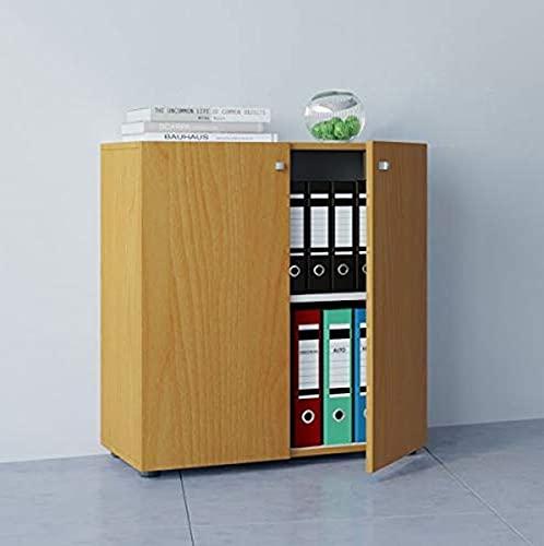 "VCM Büroschrank Aktenschrank Bücherregal Universal Ordner Schrank Regal Buche 70 x 70 x 39 cm \""Vandol Mini\"""