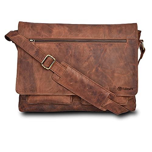 Leather Messenger Bag for Men & Women 14inch laptop Bag for Travel College Work - Handmade by LEVOGUE (Cognac Vintage)