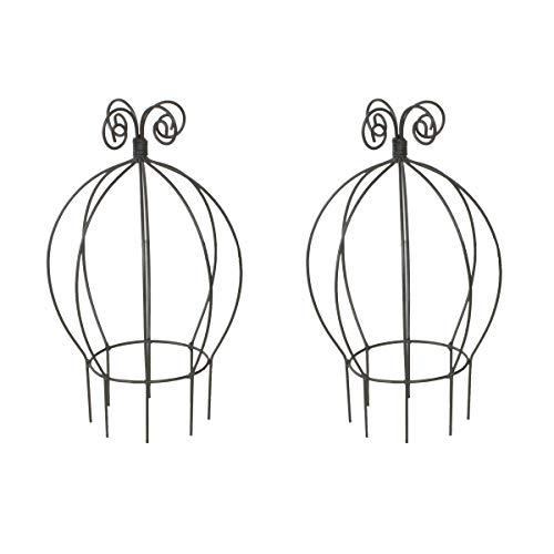Varia Living 2er Set kleine runde Rankhilfe in schwarz aus Metall Pflanzen | Mini Kletterhilfe aus Draht für den Blumen Topf als Rankturm | ideal kleine Rosen