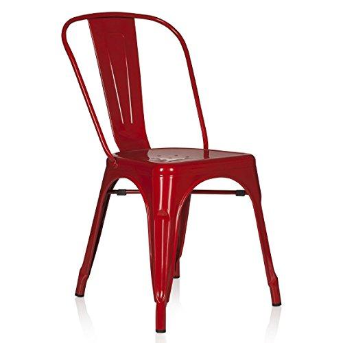 hjh OFFICE 645021 Bistrostuhl VANTAGGIO Comfort Metall Rot Stuhl im Industry-Design, stapelbar