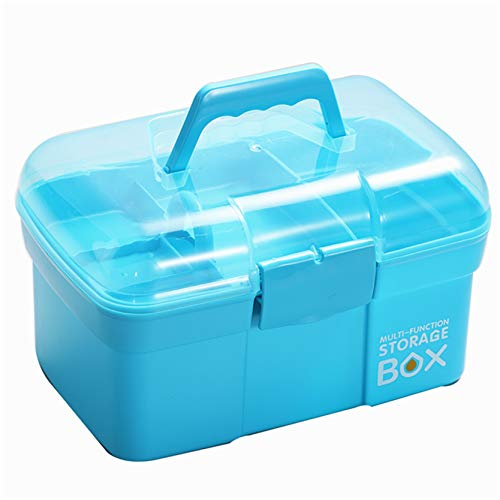 Sunxenze 11'' Clear Plastic Storage Box/Tool Box/Sewing Box Organizer, Multipurpose Organizer with Removable Tray, Portable Handled Storage Case for Art Craft and Cosmetic (Light Blue)