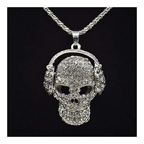 LSBXWL New Mens-Frauen-Schädel-hängende Halskette Art und Weise voller Kristall Kopfhörer Punk Halskette Schmuck Bekleidung Accessoires