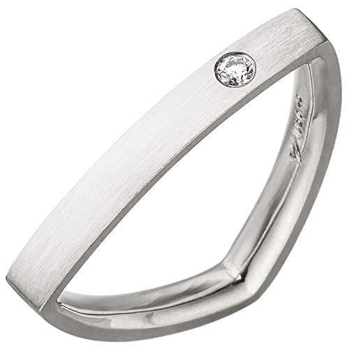 Jobo Damen Ring dreieckig Dreieck 950 Platin matt 1 Diamant Brillant Platinring Größe 56
