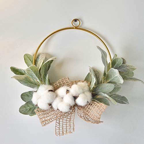 Boho Chic Style Artificial Modern Farmhouse Cotton Wreath with Eucalyptus Leaves 7.9 inch Window Wall Hanging Decoration Home Wedding Decoration -Round-Leaf Cotton