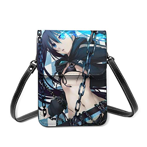 XCNGG Anime Girl BLACK ROCK SHOOTER Small Crossbody Coin Purse Phone Purse Mini Cell Phone Pouch Leather Smartphone Bags Purse,With Removable Shoulder Strap,Shoulder Bag For Women Girls