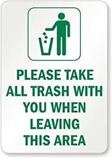 Crazy Halloween,Metal Sign 8x12 Inches Please Take All Trash with You When Leaving, Metal (Recycled and Compostable) Sign, Metal Sign, for Halloween