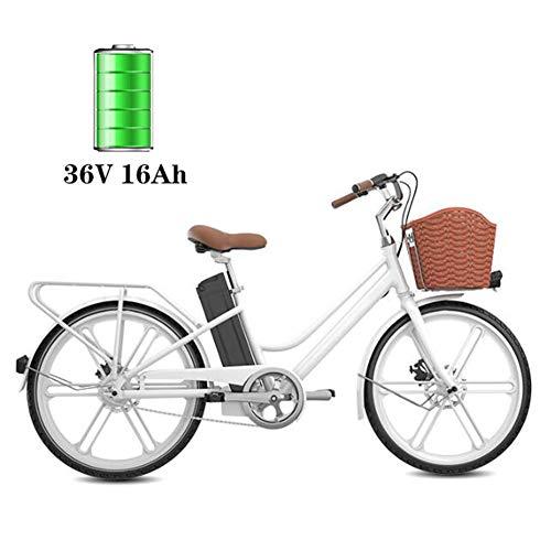 BMXzz E-Bike Damen, 24 Zoll Elektrofahrrad mit Fahrradkorb 250W Motor und 16Ah 36V Lithium-Ionen-Akku Entspricht den EU-Qualitätsstandards Elegante Frau City-E-Bike,Weiß