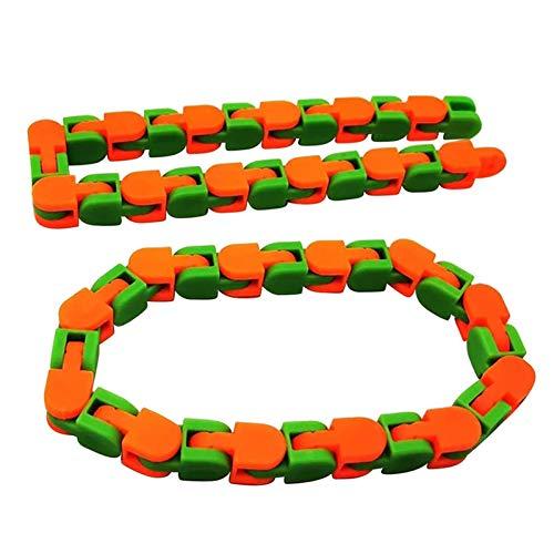 24 nudos de cadena de pista de bicicleta juguete para aliviar el estrés juguete de descompresión colorido rompecabezas sensorial Fidget juguetes alivio del estrés giratorio y forma de dedo juguetes