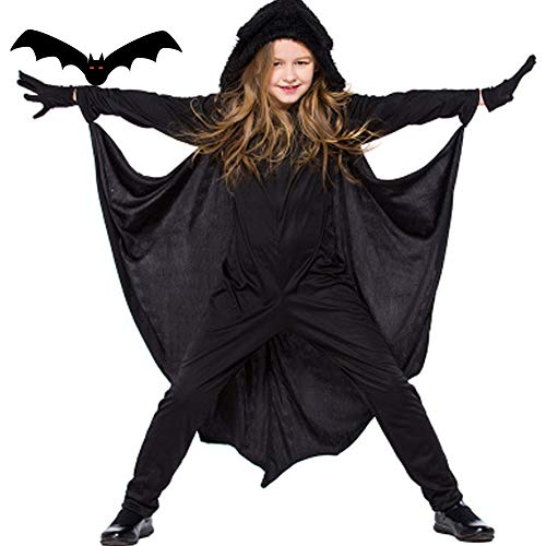 Kids Halloween Costume Fancy Dress Black Bat Wings Hooded Cape Cosplay Party Costume and Gloves for Boys&Girls