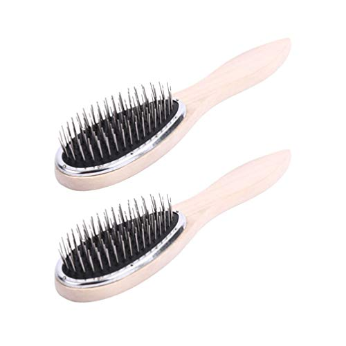 Lurrose 2pcs métal Peigne Cheveux Poils en métal Brosse Bois Peigne à Cheveux pour Le séchage de Cheveux Styling Lady Maquillage Utilisation