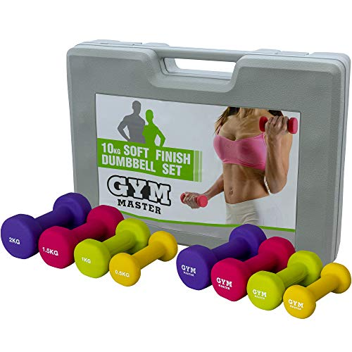 GYM MASTER 10kg Dumbbell Multi Colour Weight Set with Carry Case