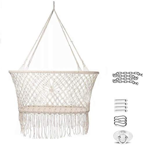 PJPPJH Hanging Crib in Macrame Hanging Swing Seat Hammock Chair for Infant to Toddler Cotton Rope Weaved Nursery Decor Girl Birthday Gift 35.4 29.5 55.1in